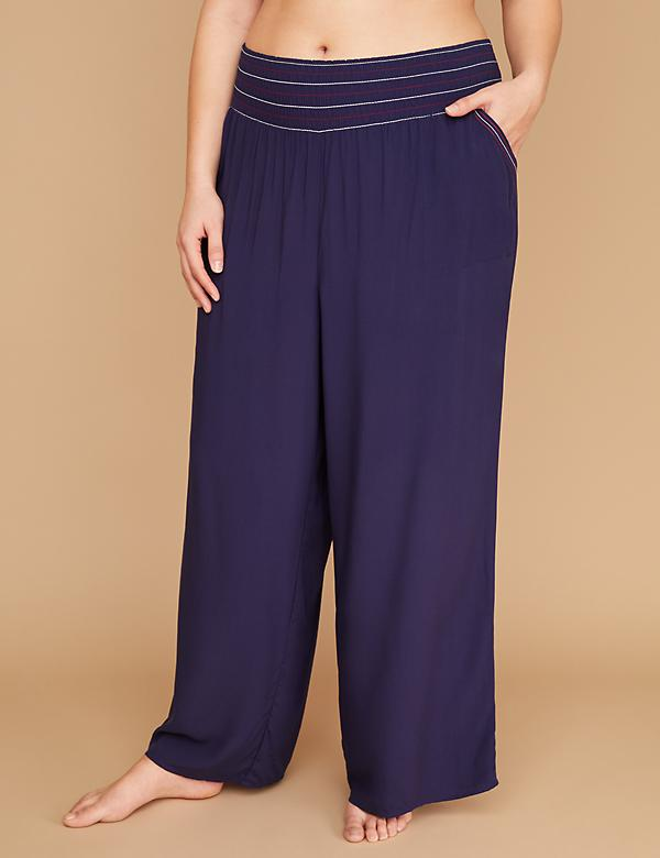 Smocked Waistband Woven Cover-Up Pant