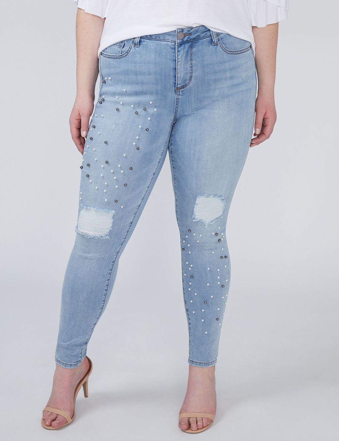 Power Pockets Super Stretch Skinny Ankle Jean - Faux Pearls
