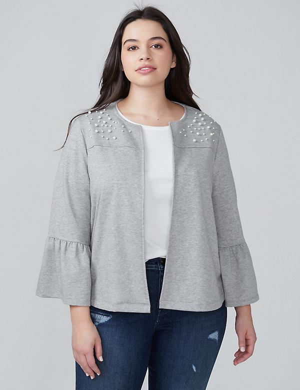 Bell-Sleeve Sweatshirt Jacket with Faux Pearls