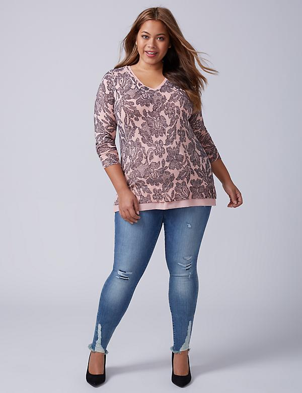 Chiffon-Trim V-Neck Sweater