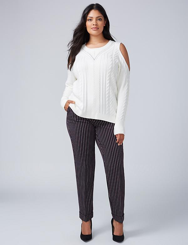Cold-Shoulder Cable Sweater