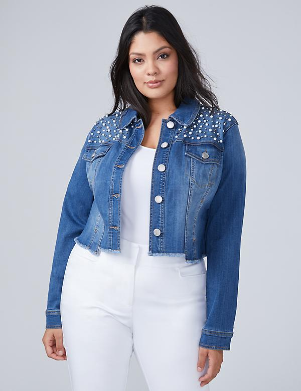 Faux Pearl Denim Jacket
