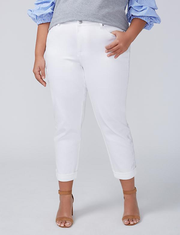 Girlfriend Crop Jean – Embroidered White