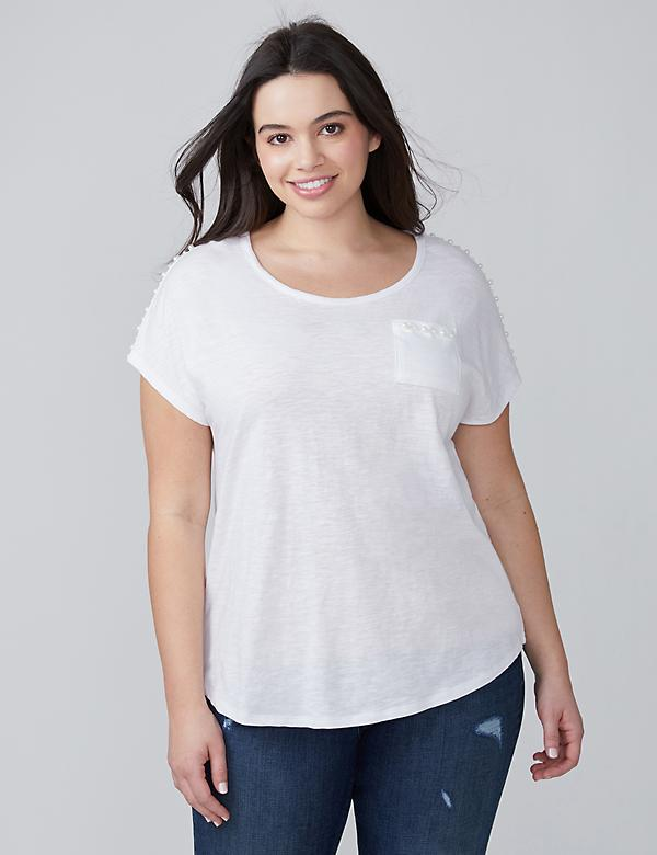 Pocket Tee with Faux Pearl Trim