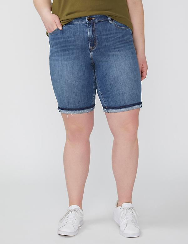 Fast Lane Sustainable Denim Bermuda Short - Released Cuffed Hem