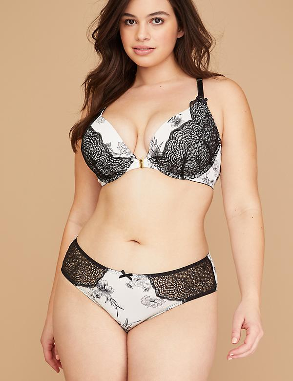 Floral Strappy Cheeky Panty with Lace