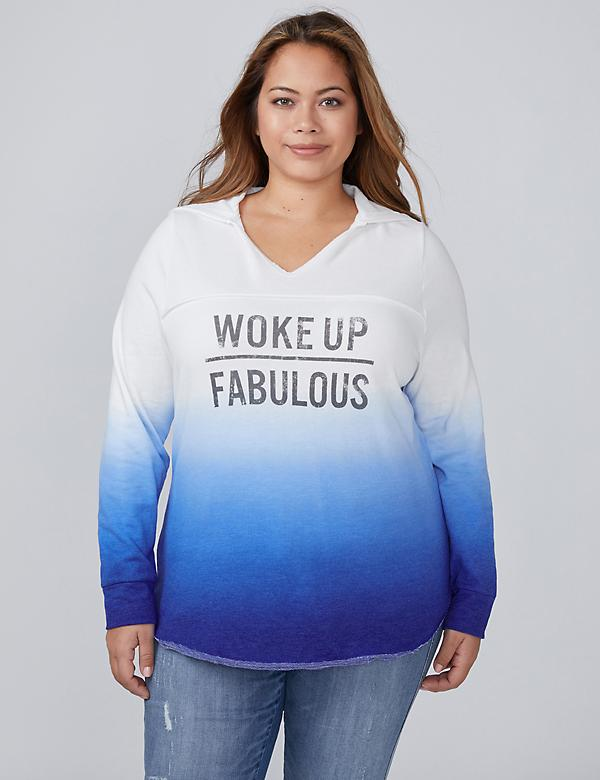 Woke Up Fabulous Graphic Ombre Sweatshirt