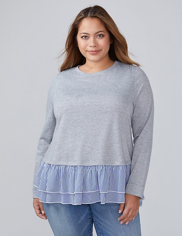 High-Low Fabric Mix Sweatshirt