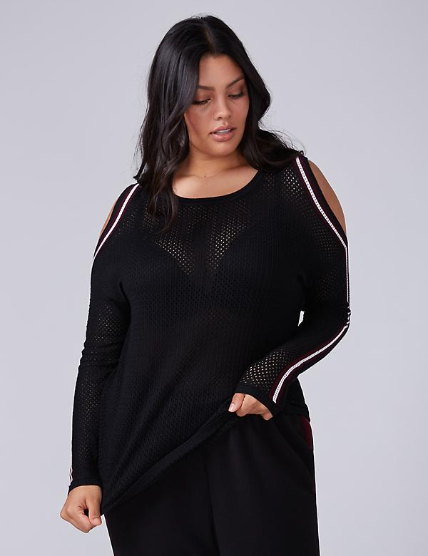 Cold-Shoulder Mesh Sweater Top with Striping