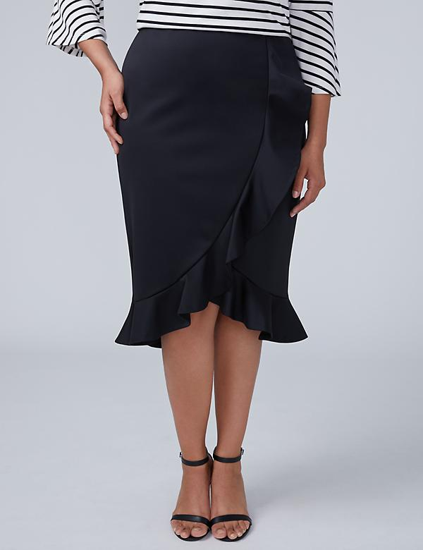 Flounce Scuba Pencil Skirt