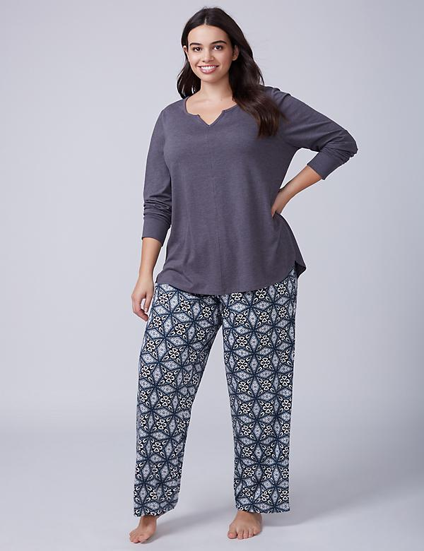 Winter Geo Notch-Neck Tee & Pant PJ Set - Long