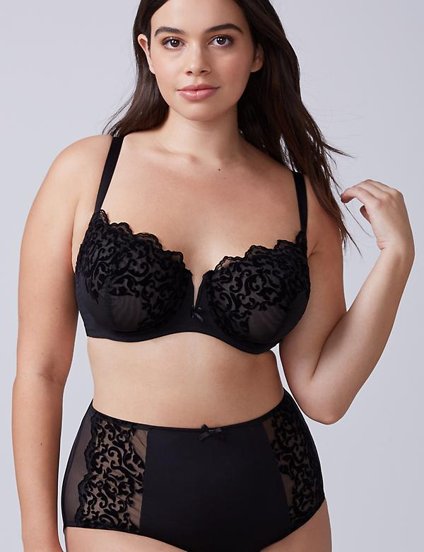 Flocked Unlined Full Coverage Bra