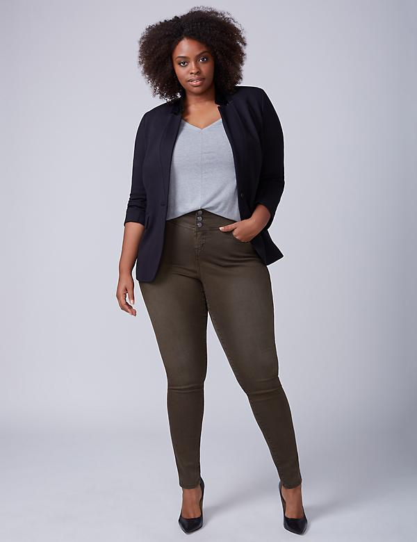High-Rise Super Stretch Skinny Jean - Dark Olive
