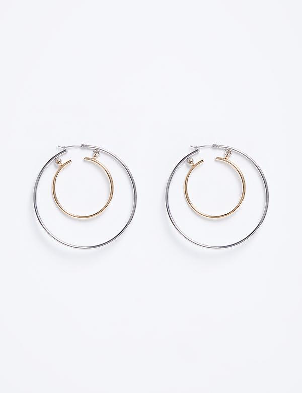 Duo-Tone Double Hoop Earrings