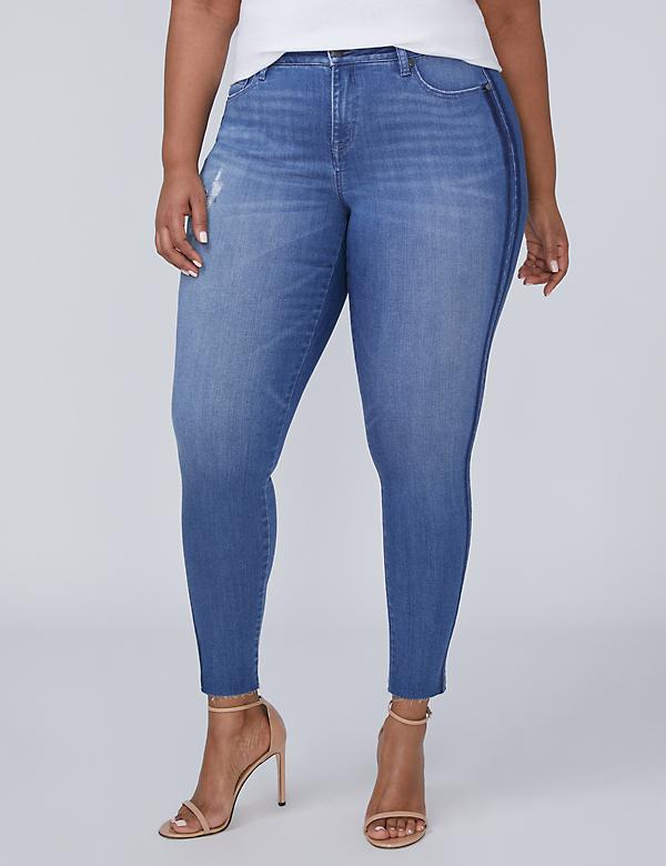 Super Stretch Skinny Ankle Jean with Power Pockets - Shadow Stripe
