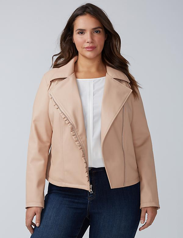 Ruffle Faux Leather Moto Jacket