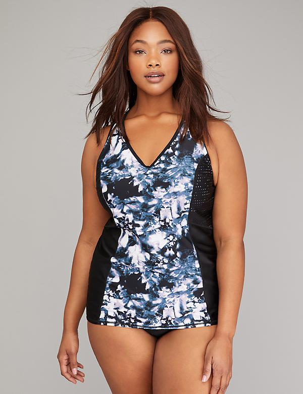 Perforated Active Swim Tankini Top with Built-In Underwire Bra