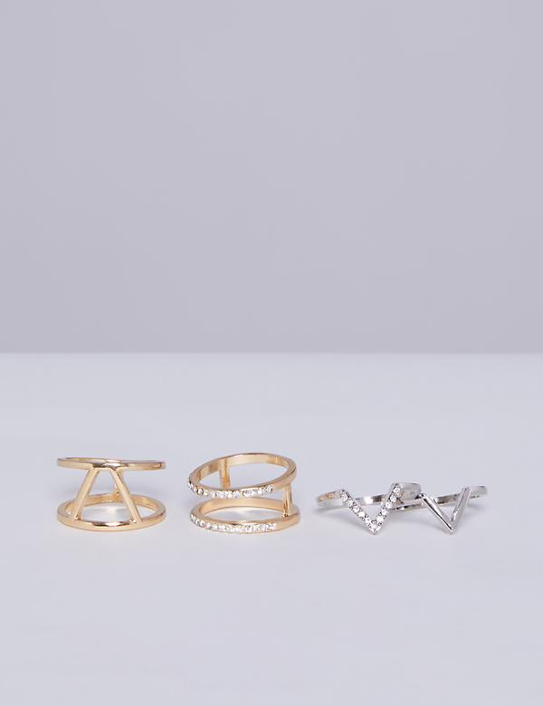 4-Stack Chevron Ring Set