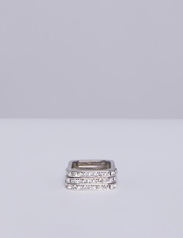 3-Stack Square CZ Ring Set