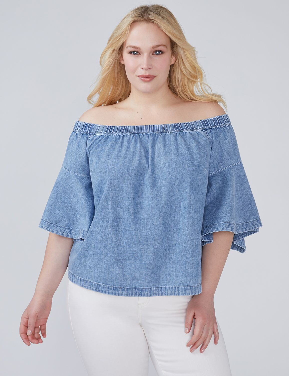 Petite Bell-Sleeve Off-the-Shoulder Denim Top