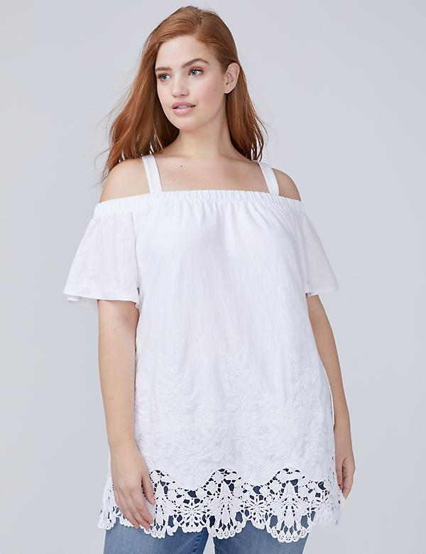 Lace-Hem Off-the-Shoulder Tunic