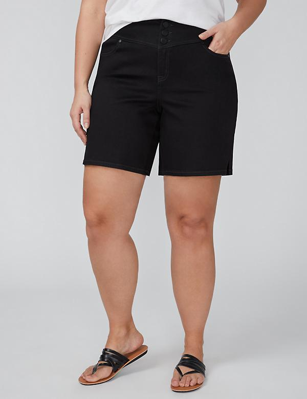 High Rise Denim Short - Black