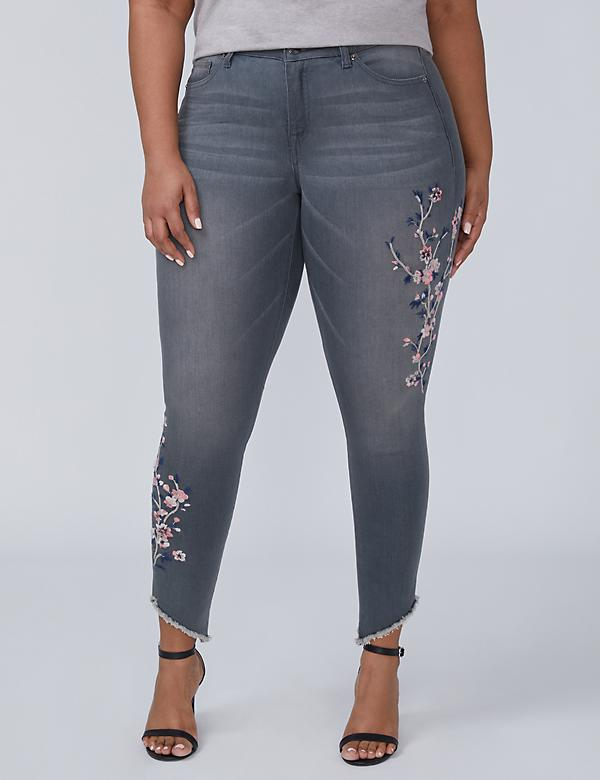Super Stretch Skinny Ankle Jean with Power Pockets - Gray Embroidered