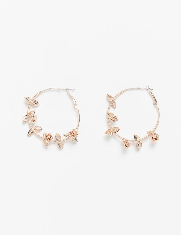 Floral Metal Hoop Earrings
