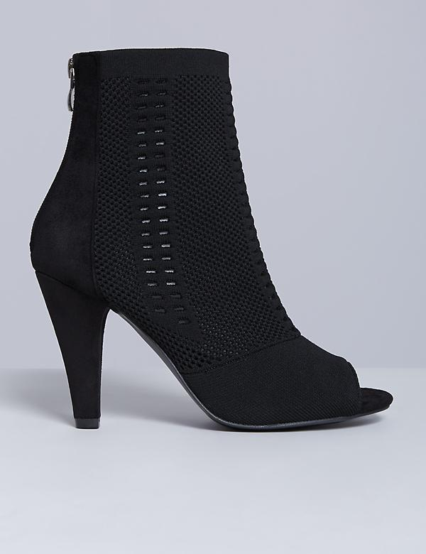 Peep-Toe Heeled Ankle Boot