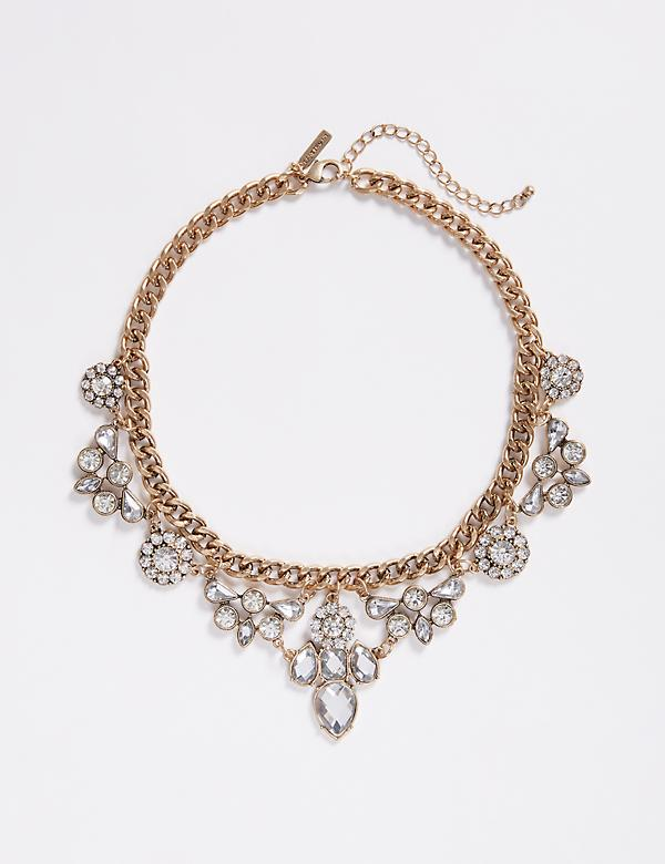 Burnished Metal Statement Necklace