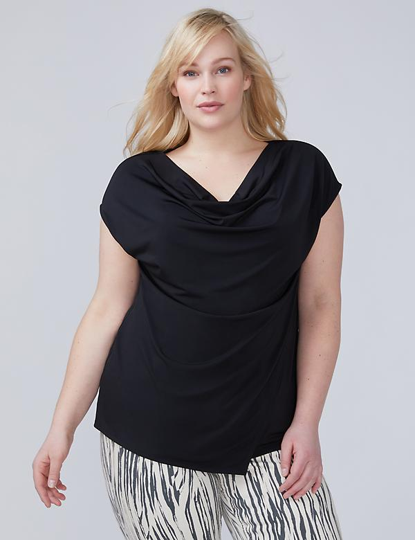 Cowl-Neck Overlay Top