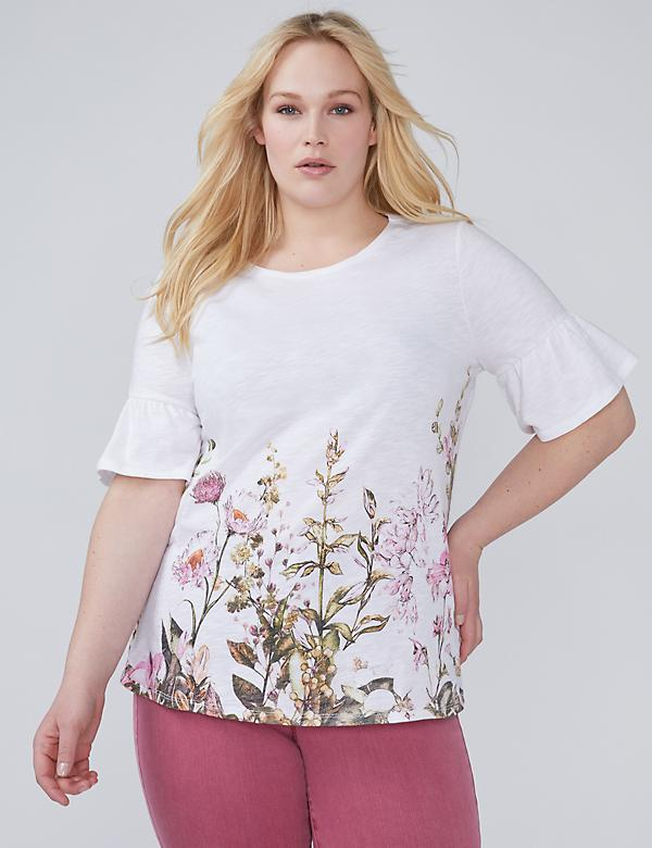 Ruffle-Sleeve Floral Graphic Tee