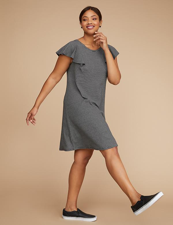 Striped Shoulder Ruffle T-Shirt Dress