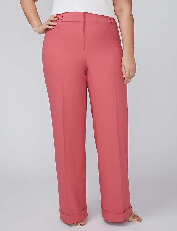 Allie Tailored Stretch Wide Leg Pant - Cuffed