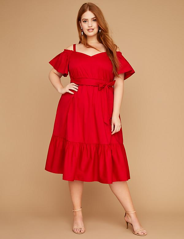 Woven Belted Off-the-Shoulder Midi Dress