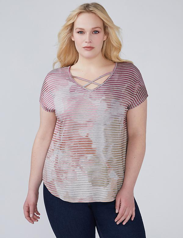 Striped Tie-Dye Tee with Strappy Neck