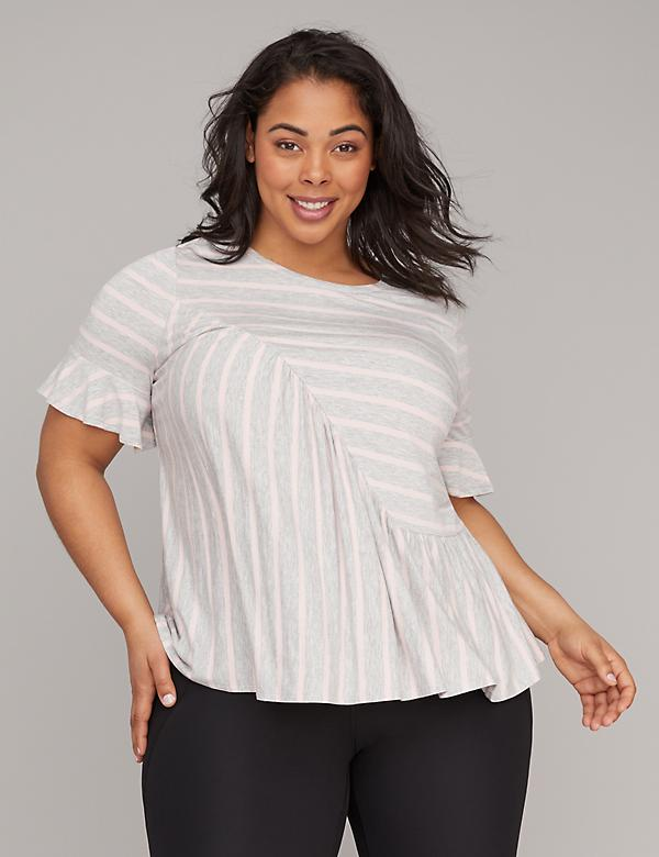 Striped Asymmetrical Ruffle Active Top