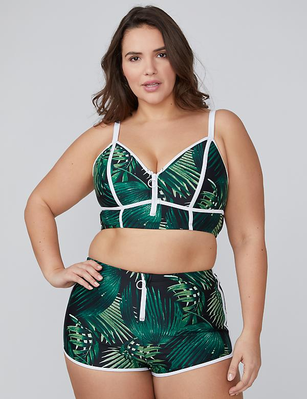Palm Print Zip Longline Swim Bikini Top with Built-In No-Wire Bra