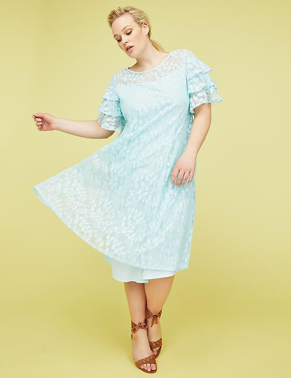 Ruffle-Sleeve Lace Swing Dress