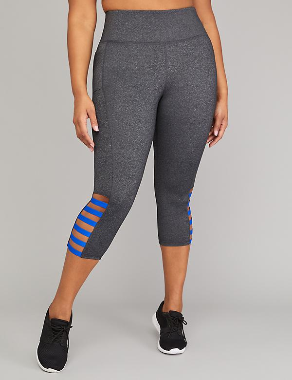 Wicking Active Capri Legging - Marled with Strappy Hem