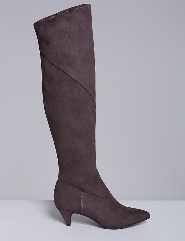 Stretch Faux Suede Kitten-Heel Boot