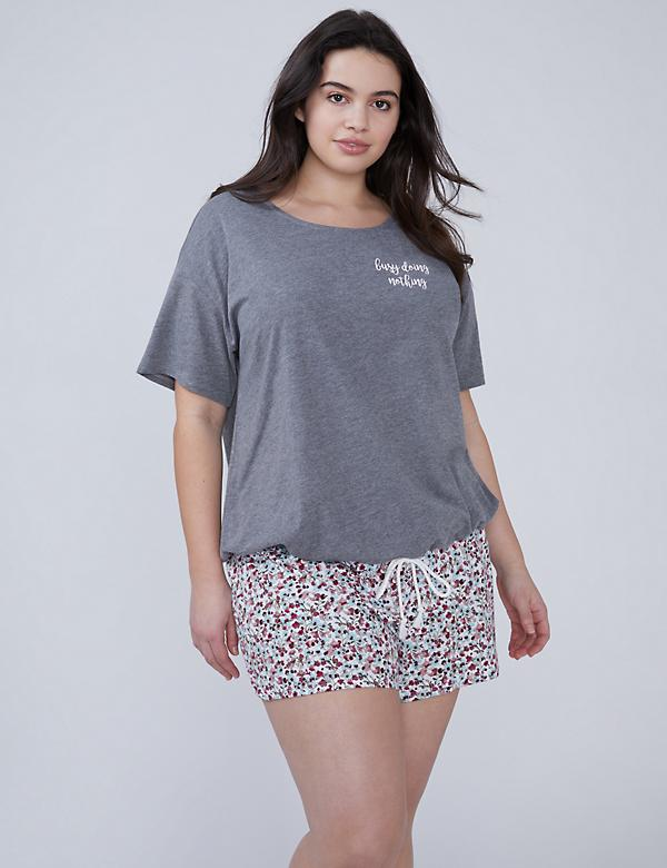 Drawstring-Hem Tee & Short PJ Set