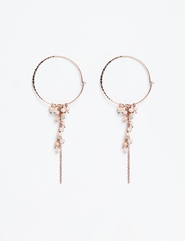 Beaded Cluster Hoop Earrings