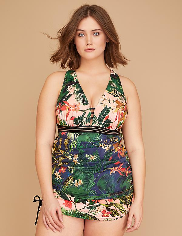Floral & Striped Elastic Swim Tankini Top with Built-In Balconette Bra