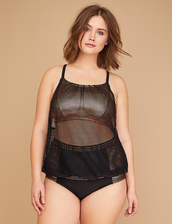 Rose Gold & Fishnet Blouson Swim Tankini Top with Built-In No-Wire Bralette