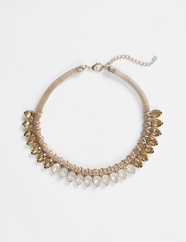 Goldtone Statement Necklace with Stones