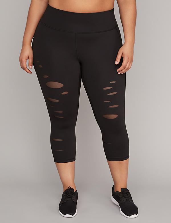 Sculpting Slashed Active Capri Legging