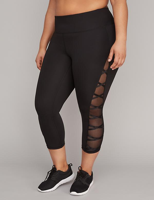 Sculpting Mesh Lace-Up Active Capri Legging