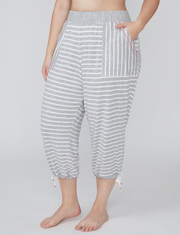 Striped French Terry Drawstring Sleep Crop Jogger