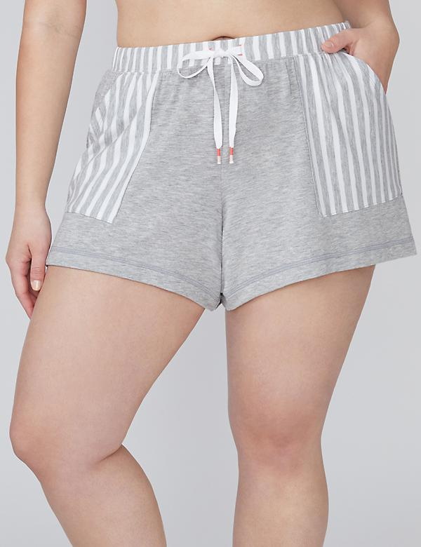 Striped Trim French Terry Sleep Short